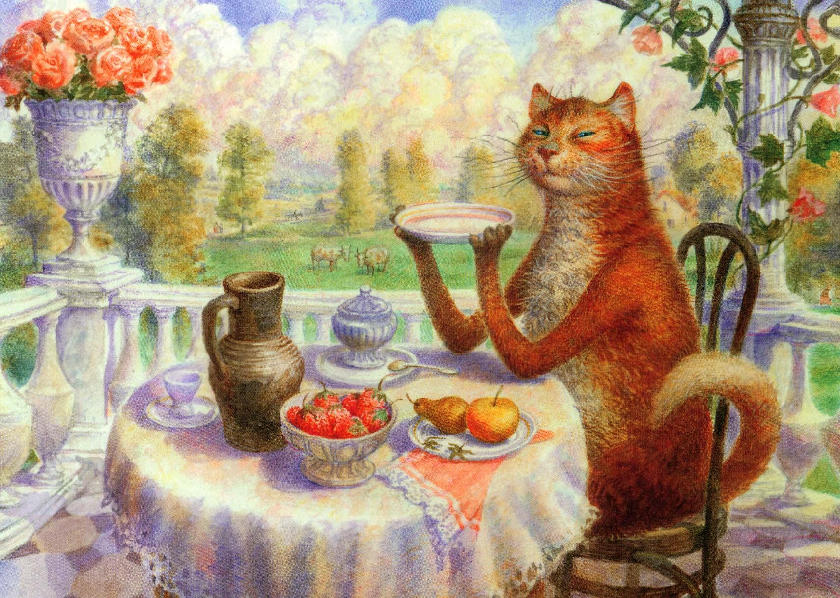 Картинки котиков пьющих чай